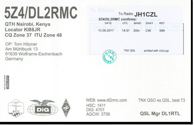 5Z4/DL2RMC - Kenya